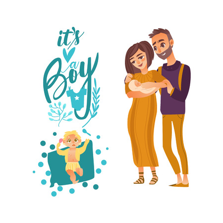 vector flat cartoon adult couple and infant with it s a boy lettering. Isolated illustration on a white background. Family characters. Adult smiling man, cute woman in orange dress and newborn baby Illustration