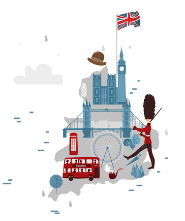 vector flat England map with symbols concept set. Marching beefeater, british phone booth, Tower Bridge and Big Ban Tower of London, gentleman hat, umbrella, smoking pipe, union jack flag icon.