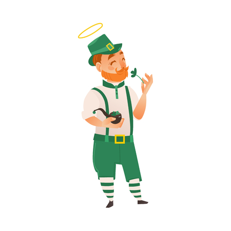 Saint Patrick, Irish man in traditional green hat, pants and braces holding shamrock and smoking pipe, flat vector illustration isolated on white background. Irish man, Saint Patrick character.