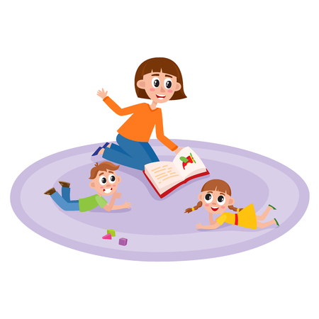 jardin de infantes: Vector flat girl and boy kids sitting at carpet around young woman with book - teacher and listening to her attentively with interest with cubics toys around. Isolated illustration, white background. Vectores