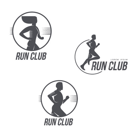 Run club logo template set with jogging man and woman silhouettes, black and white vector illustration isolated on white background. Run club logo, badge set with portraits of running man and woman