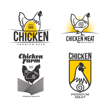 set di loghi con pollo, illustrazione vettoriale, isolato su uno sfondo bianco, con diversi loghi pollo e giallo, semplici loghi su pollo, carne e uova, la produzione di carne di pollame