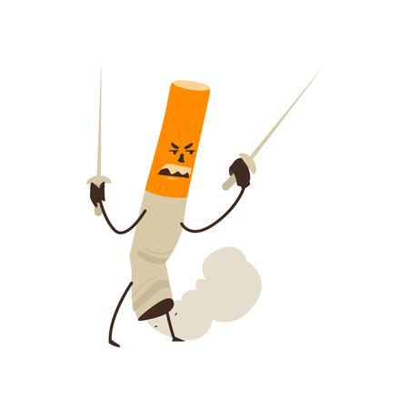 ヒトくすぶっているタバコ持株 2 本の剣、健康を脅かす漫画、白い背景で隔離のベクトル図です。2 本の剣、不健康な習慣にコミック スタイル タバ  イラスト・ベクター素材