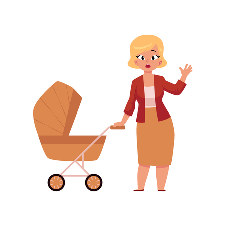 Young worried woman standing with baby pram, carriage, stroller, cartoon vector illustration isolated on white background. Full length portrait of worried young mother, woman with baby pram