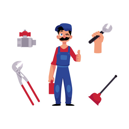 vector cartoon man blumber in working uniform, cap and mustache holding case with tools showing thumbs up, winking, water valve, plunger, pipe, monkey wrench. isolated illustration, white background Reklamní fotografie - 89747884