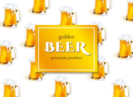 벡터 포스터, 배너 또는 두꺼운 흰색 거품 패턴 서식 파일을 황금 라 거 맥주의 전체 낯 짝을 함께 현수막. 디자인을위한 준비 mockup입니다. 흰색 배경에