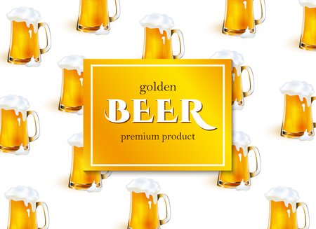 vector poster, banner or placard with full mug of golden lager beer with thick white foam pattern template. Ready for your design mockup. Isolated illustration on a white background.