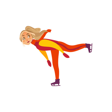 Pretty teen, teenage girl ice skating, doing one leg stand, winter sport activity. Flat cartoon vector illustration isolated on white background. Иллюстрация