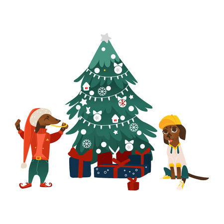 Vector cartoon stylized humanized dachshund dog characters near decorated Christmas tree with presents. Animal in Christmas hat elf fancy costume, another sitting in cap.
