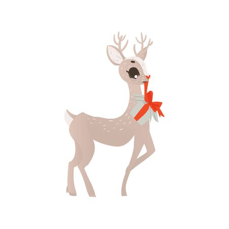 vector flat cartoon cute female christmas reindeer holding christmas present box in moith. Winter holiday deer animal simbol full lenght. Isolated illustration on a white background. Banco de Imagens