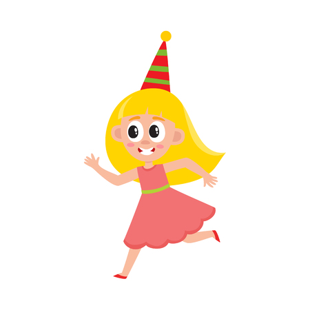 vector flat cartoon girl kid in funny pink dress and party hat faving fun. isolated illustration on a white background. Kids patty concept