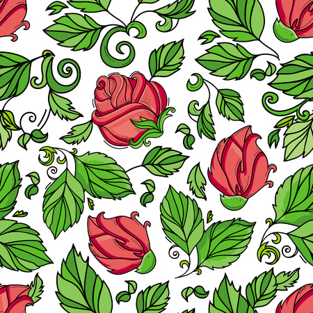 Vector hand drawn sketch style, elegant vintage rose red wild flower with stem, leaves and blooming blossom seamless pattern. Illustration