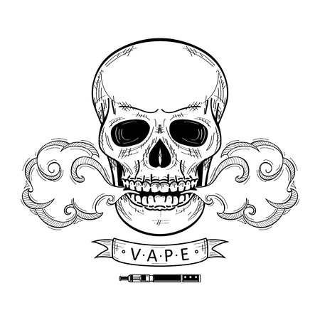 vector sketch hand drawn skull smoking, vaping isolated illustration on a white background. Human skull with eyes and teeth exhailing steam, smoke vapour. Vaping concept Illustration