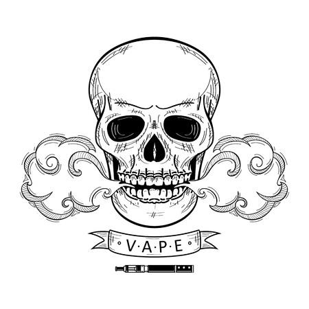 vector schets hand getrokken schedel roken, vaping geïsoleerde illustratie op een witte achtergrond. Menselijke schedel met ogen en tanden met stoom, rookdamp. Vapen concept
