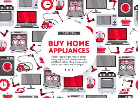 Vector kopen home appliance reclame posterontwerp. Huistoestellen naadloos patroon. Stock Illustratie