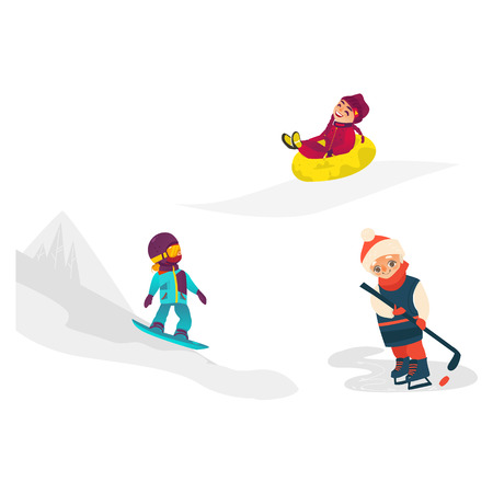 Kids having fun in winter riding snow tube, playing hockey, snowboarding, flat cartoon
