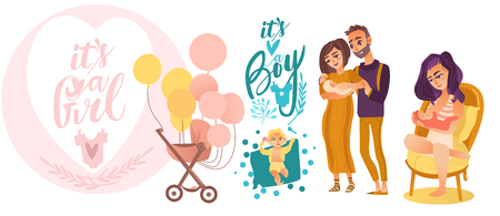 flat cartoon newborn baby symbols set. Couple with baby, nursing, breast feeding mother, stroller with air balloons and boy and girl toddlers. Isolated illustration on a white background.