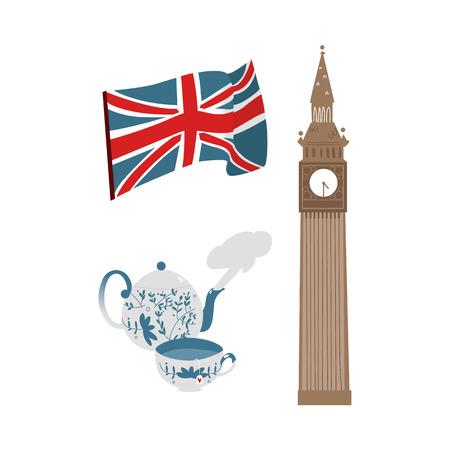 vector plano Reino Unido, gran conjunto de símbolos de Gran Bretaña. Bandera británica union jack, tetera de cerámica con taza elegante y Big Ban Torre de icono de Londres. Ilustración aislada en un fondo blanco