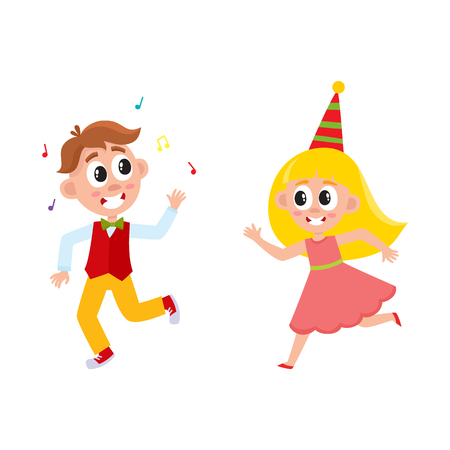 vector flat cartoon boy and girl kid dancing in party hat, running and throwing musik confetti smiling . isolated illustration on a white background. Kids patty concept Illustration