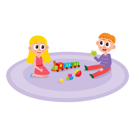 flat boy and girl sitting at carpet playing with train, cubics toys and ball smiling at preschool class . Isolated illustration on a white background. Kindergarten concept