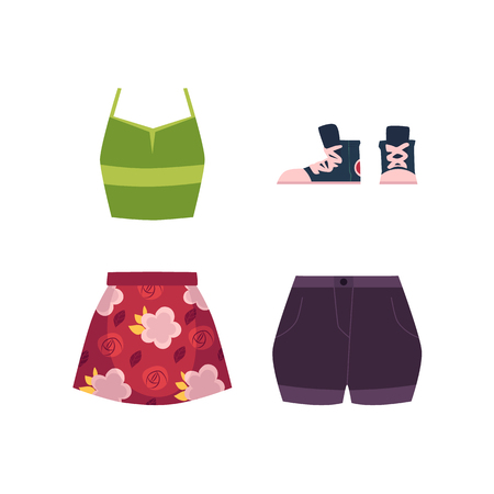 Summer outfit - sleeveless vest, skirt, shorts and sneakers, cartoon vector illustration isolated on white background. Summer clothing and footwear - vest, skirt, shorts and sneakers, fashion set