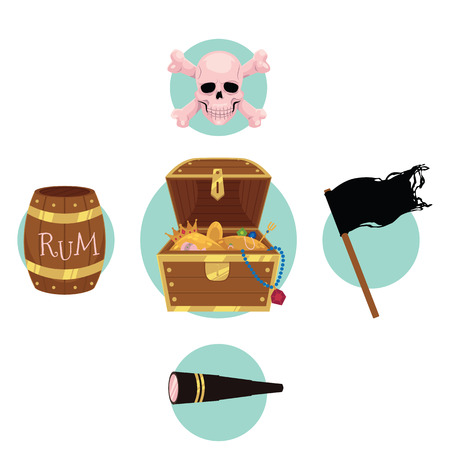 Flat style pirate set - treasure chest, jolly Roger flag, rum barrel, field glass, skull and bones, cartoon vector illustration isolated on white background. Flat style cartoon pirate set