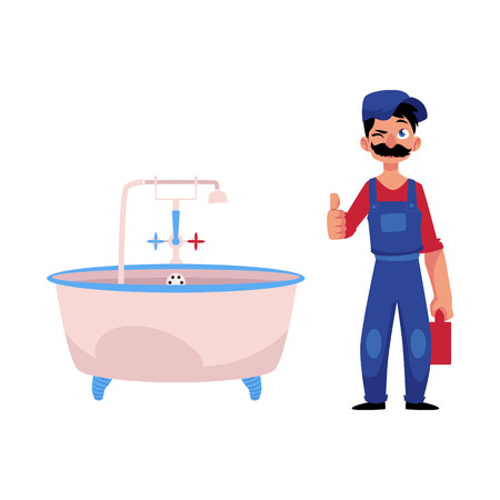 cartoon handsome man blumber in working uniform holding case with tools and equipment showing thumbs up, winking standing near fixed bath tube. isolated illustration on a white background