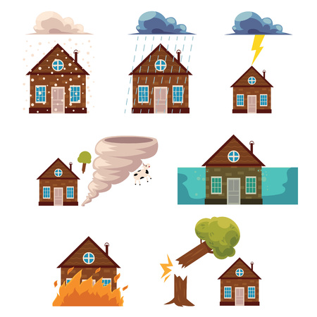 flat house insurance concepts set. House being damaged by wind, rain, lighting fire, snow, tornado hurricane or whirlwind, by flood and falling tree. Natural disaster insurance scenes isolated. Illustration