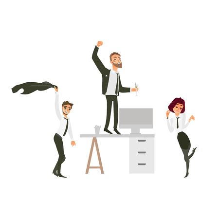 vector flat cute girl office worker, business woman manager in corporate clothing in skirt, necktie dancing at floor , men with beard dancing at and near table at party. Isolated illustration
