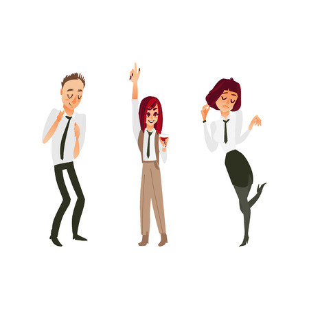 vector flat cartoon office workers man and girls in formal corporate clothing with black necktie, male, female characters dancing having fun at corporate party. Isolated illustration white background.