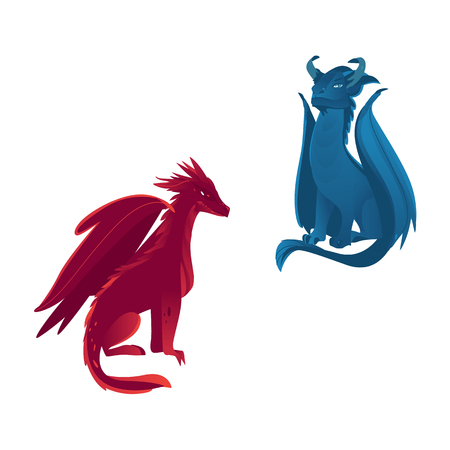 Couple of dragon characters, mythical creatures with wings and horns, flat vector illustration isolated on white background. Blue and red dragon creatures with wings, horns and long tails