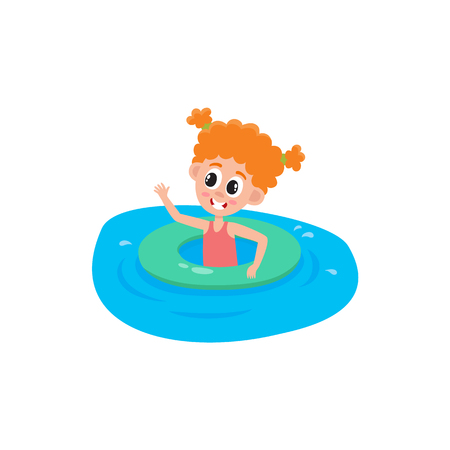 Funny little girl with two ponytails swimming in pool, river with inflatable ring, cartoon vector illustration on white background. Cute, pretty cartoon girl with swimming with inflatable ring