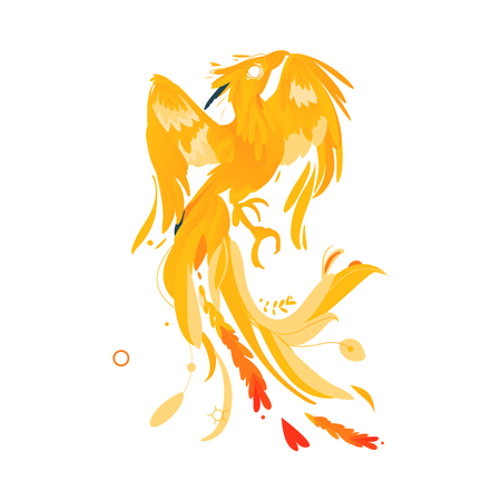 Mythical, mythological, fictional phoenix bird character, rebirth, renewal symbol, flat cartoon vector illustration isolated on white background. Mythical phoenix bird creature from fairy tales