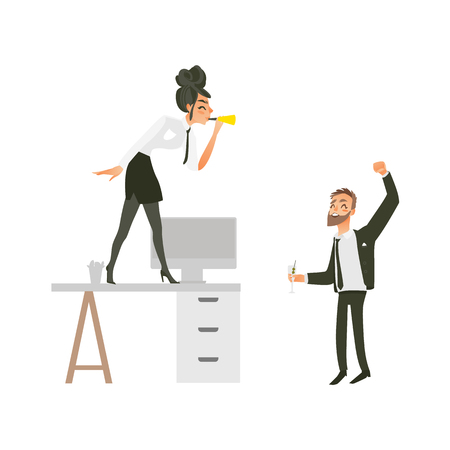 vector flat cute girl office worker, business woman manager in corporate clothing in skirt, necktie dancing at table blowing into pipe, man with beard dancing at floor at party. Isolated illustration