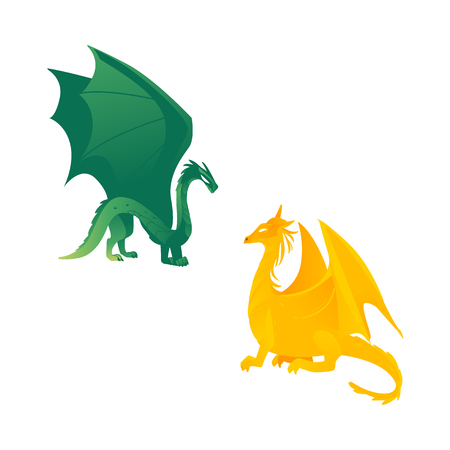 Couple of flying dragon fictional characters, mythical creatures, side view flat vector illustration isolated on white background. Green and yellow dragon creatures with wings and long tails