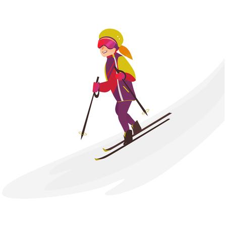 Glückliche Jugendliche in der warmen Kleidung, im Sturzhelm und in den Gläsern, die abwärts, Wintersportaktivität, flache Karikaturvektorillustration lokalisiert auf weißem Hintergrund Ski fahren. Ziemlich jugendlich Mädchen Skifahren, Spaß haben Standard-Bild - 89875436