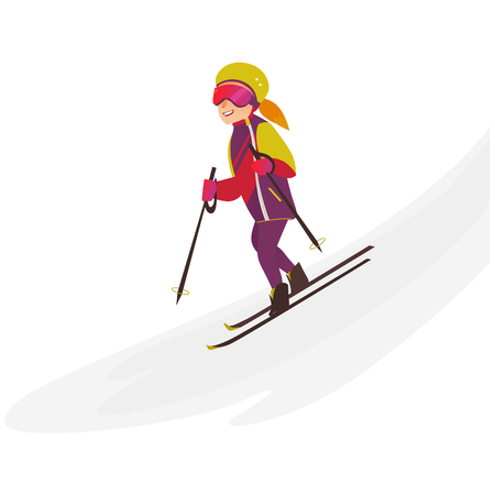 Happy teenage girl in warm clothes, helmet and glasses skiing downhill, winter sport activity, flat cartoon vector illustration isolated on white background. Pretty teen girl skiing, having fun