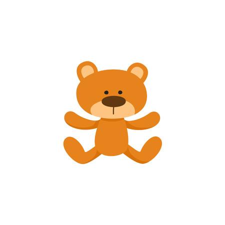 Mooi bruin teddybeerstuk speelgoed, symbool, pictogram, beeldverhaal vectorillustratie die op witte achtergrond wordt geïsoleerd. Pluche teddybeer speelgoed, knuffeldier, traditionele slaapgezel Stock Illustratie