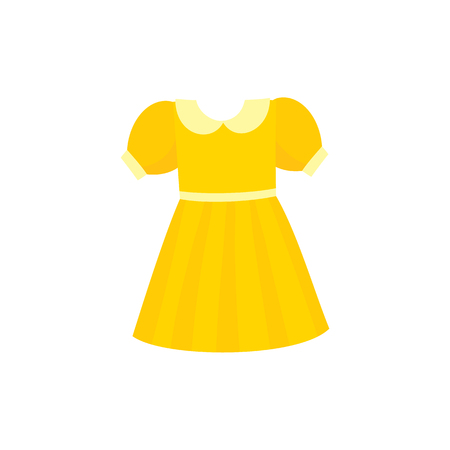 Yellow flare dress with round collar and balloon sleeves, cartoon vector illustration isolated on white background. Pretty girlish dress with round collar, flare dress, belt and balloon sleeves