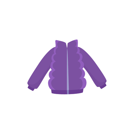 Purple ski jacket, down parka for a child, kid, boy or girl, winter wardrobe element, cartoon vector illustration isolated on white background. Ski, down padded jacket, girl, boy winter wardrobe