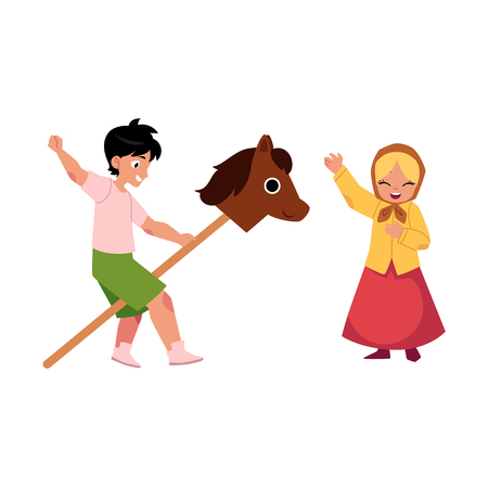 vector flat cartoon children at summer camp concept. Boy playing with wooden horse and girl in ethnic clothing and headscarf singing or acting in play. Isolated illustration on a white background.