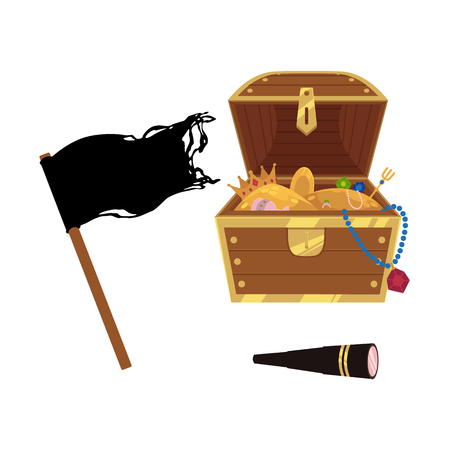 vector flat pirates symbols set icon. isolated iilustration on a white background. black ragged flag, opened treasure chest full of golden coins, gems and jewelry, spyglass sail telescope