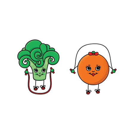 vector flat sketch fruits, vegetables characters with legs, hands and eyes doing sport set. Broccoli and orange working out with jumping, skipping rope. Isolated illustration on white background. Illustration