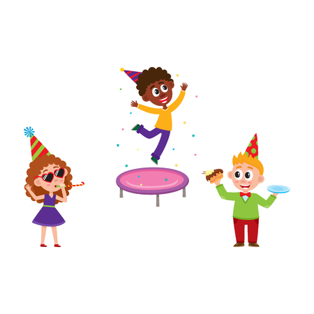 Kids having fun at birthday party, jumping on trampoline, blowing whistle, eating cake, cartoon vector illustration isolated on white background. Black and Caucasian kids having fun at birthday party