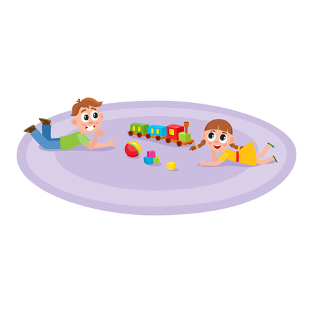 vector flat boy and girl lying at carpet with train, cubics toys and ball smiling at preschool class . Isolated illustration on a white background. Kindergarten concept