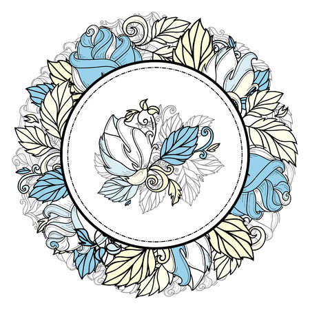 vector hand drawn sketch style elegant vintage blue yellow shaded rose circle frame template with wild flower with stem, leaves and blooming blossom at middle. Isolated illustration white background.