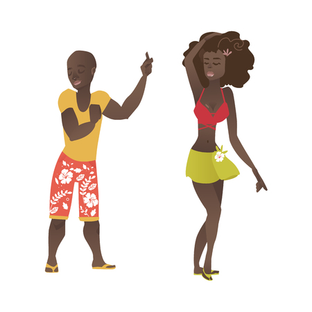Happy Haitian, Hawaiian, black, African American couple, man and woman, dancing at beach party, flat cartoon vector illustration isolated on white background. Black couple dancing, beach party