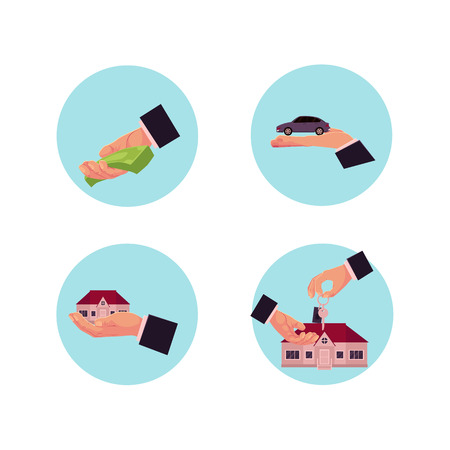 vector flat man hands making business deals icon set. Buying, selling and renting a house or car, giving money for credit, loan or donation and handshaking. Isolated illustration on white background Illustration
