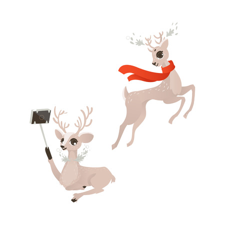 vector flat cartoon cute female christmas reindeer making selfie by selfie stick and dancing in red scarf set. Winter holiday deer animal simbol full lenght. Isolated illustration on white background