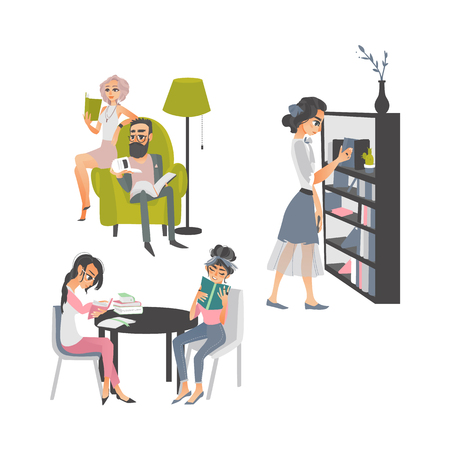 vector cartoon people reading books set. Beautiful business woman and adult man in glasses sitting at armchair near lamp, women sitting at table, girl stands near bookcase at home or library. Vettoriali